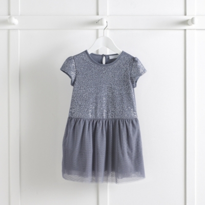 Encased Sequin Dress - Soft Blue