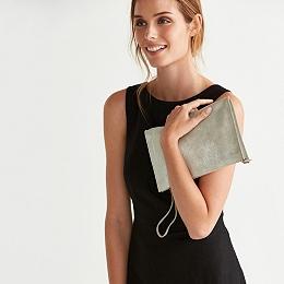 Suede Wristlet Clutch Bag