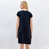 Eyelash Trim Linen Dress - Navy