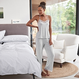 Eyelash Lace Back Pajama Set
