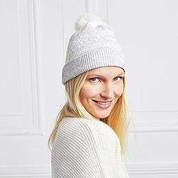 Wool-Cashmere Fair Isle Beanie Hat