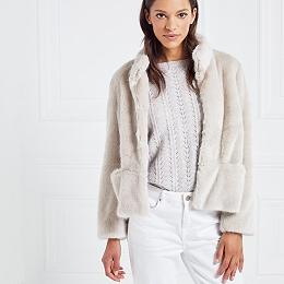 Faux-Fur Collarless Coat