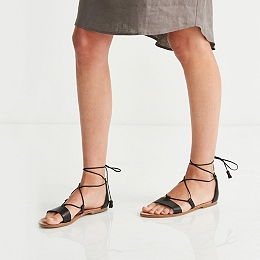 Flat Leather Tassel Sandals