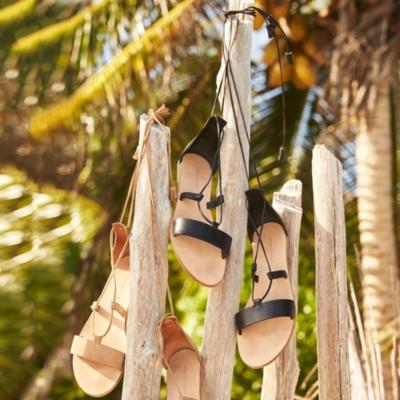 Flat Leather Tassel Sandals