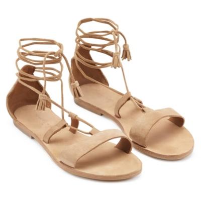 Flat Suede Tassel Sandals