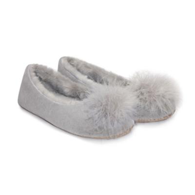 Feather Pom-Pom Ballet Slippers