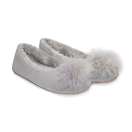 Feather Pom-Pom Ballet Slippers