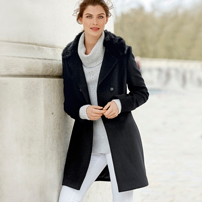 Faux Fur Collar Coat | Clothing | The White Company UK