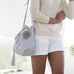 Faux Fur Pompom Keyring - Soft Grey