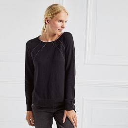 Fine Chain Detail Sweater - Black