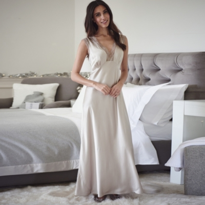Floral Lace Trim Long Silk Night Gown