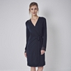 Tiny Flower Lace Trimmed Robe - Navy