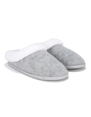 Felt Faux-Fur Slippers