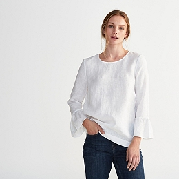 Linen Fluted Sleeve Top