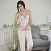 Floral Lace Trim Silk Pajama Set