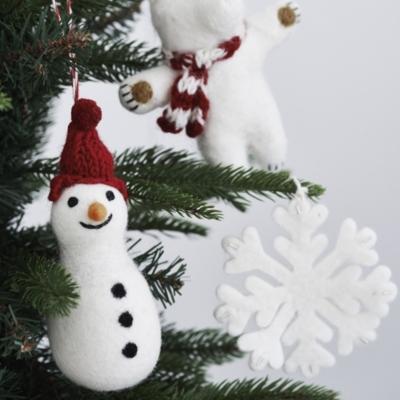 Felted Snowman Decoration