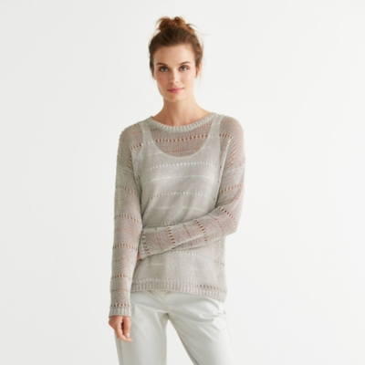 Foil Print Textured Sweater