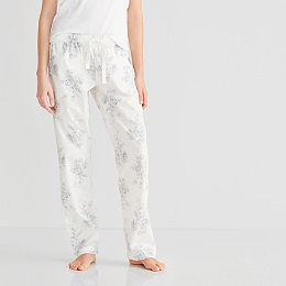 Cotton Poplin Floral Pajama Bottoms