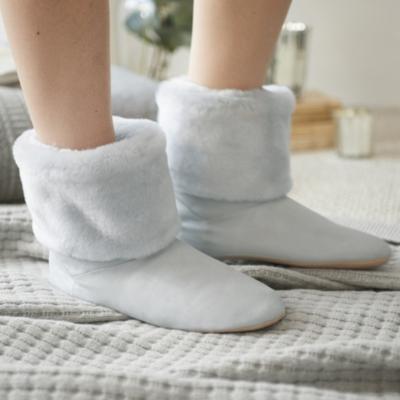 Faux Fur Top Slipper Boots