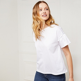 Cotton Frill Sleeve T-Shirt