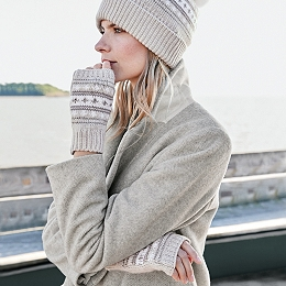 Fair-Isle Wrist Warmers with Cashmere