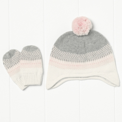 Girls Fairisle Pompom Hat - Winter-White