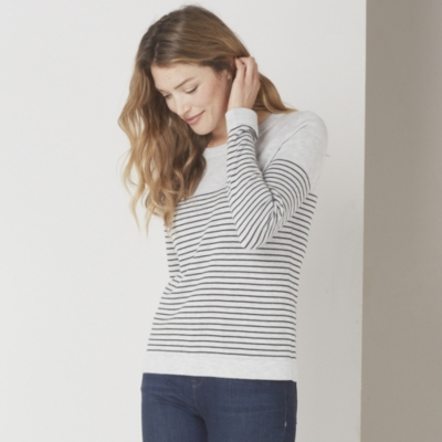 Fine Stripe Crew Neck Sweater	 - Pale Gray Marl