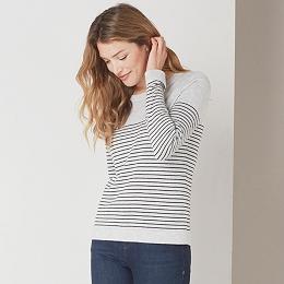 Fine Stripe Crew Neck Sweater - Pale Gray Marl