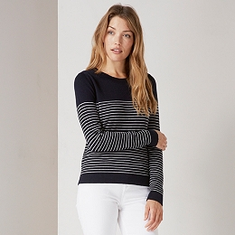Fine Stripe Crew Neck Sweater - Navy