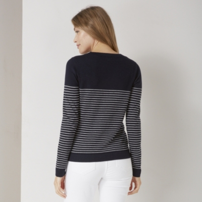 Fine Stripe Crew Neck Sweater	 - Navy