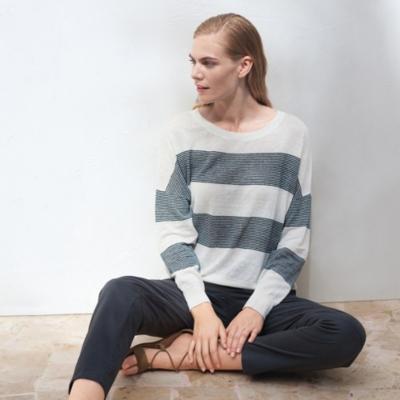Linen Fine Striped Sweater