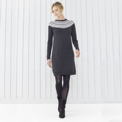 Fairisle Sparkle Knitted Dress | Clothing | The White Company UK