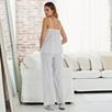 Lace Trim Stripe Pajamas - Gray