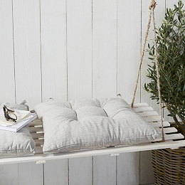 Gray Linen Tufted Seat Pad