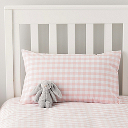 Gingham Cot Bed Linen - Chalk Pink
