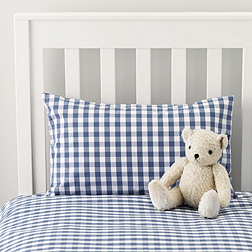 Gingham Cot Bed Linen - Moonlight Blue