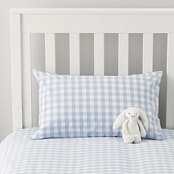 Gingham Cot Bed Linen - Pale Blue