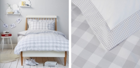 Gingham Bed Linen - Cool Grey