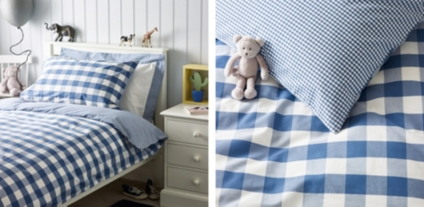 Gingham Bed Linen - Moonlight Blue