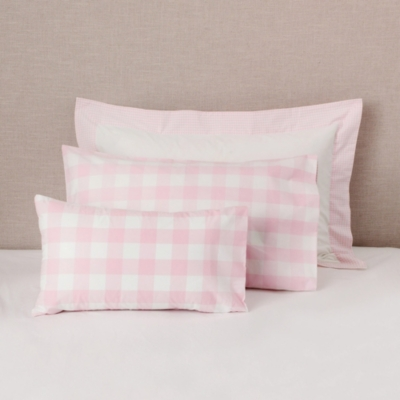 Gingham Reversible Pink Cot Bed Pillowcase