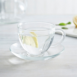 Glass Tea Cup & Saucer