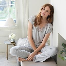 V-neck Lace Trim Pajama Set