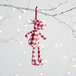 Mini Gingham Reindeer Decoration