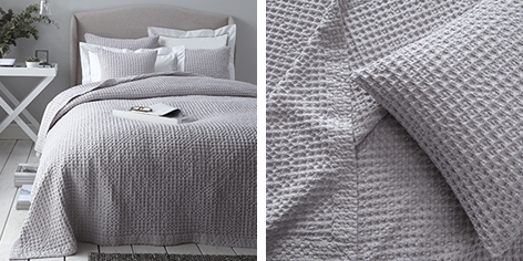 Hanbury Bedspreads & Cushion Covers - Silver Gray