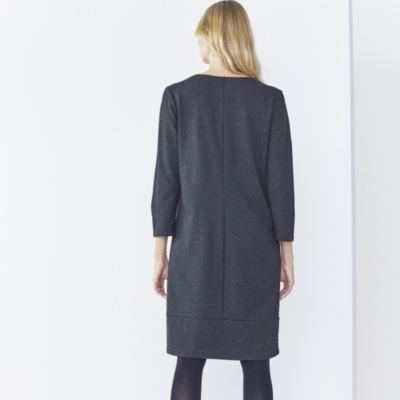 Hem Detail Three Quarter Sleeve Ponte Dress