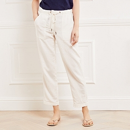 Cotton Herringbone Beach Pants