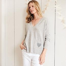 Wool-Cashmere Heart Sweater - Cloud Marl