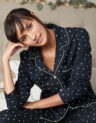 Brushed Heart Flannel Pyjama Top