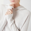 Cashmere Mix Hooded Ribbed Sweater