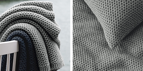 Holkham Throw & Cushion Covers - Silver Gray